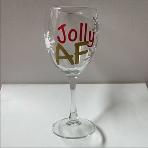 """🎄""""Jolly AF"""" Holiday Wine Glass"""